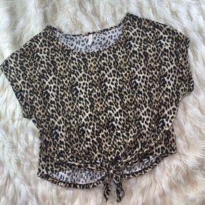 Women's Leopard Print Tie Front Tee
